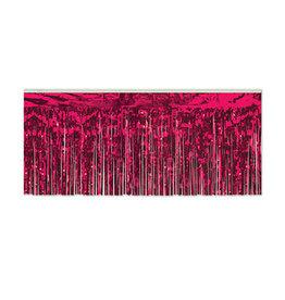 """Beistle Hot Pink 15"""" Metallic Fringe - 10'"""