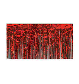 "Beistle Red 30"" Metallic Table Skirting - 14'"
