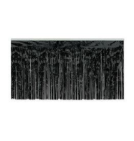 "Beistle Black 30"" Metallic Table Skirting - 14'"
