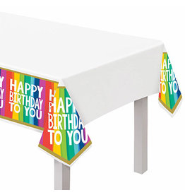 """Amscan Rainbow Wishes Tablecover - 54"""" x 102"""""""