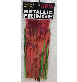 """party deco Red & Green 15"""" Metallic Fringe - 10'"""
