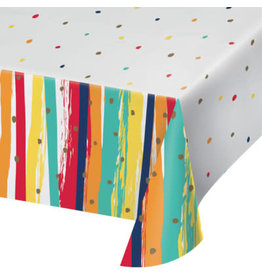 """creative converting Birthday Stripes Paper Tablecover - 54"""" x102"""""""