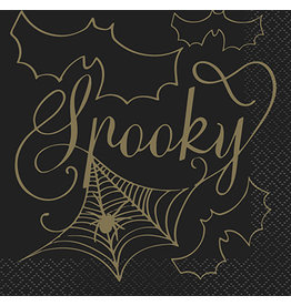 unique Black & Gold Spider Web Bev. Napkins - 16ct.