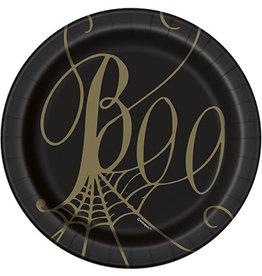 "unique Black & Gold Spider Web 7"" Plates - 8ct."