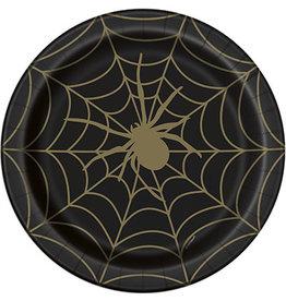 "unique Black & Gold Spider Web 9"" Plates - 8ct."