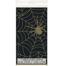 "unique Black & Gold Spider Web Tablecover - 54"" x 84"""