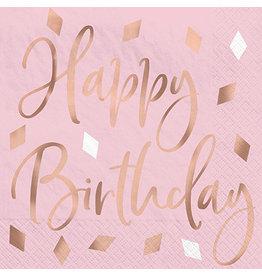 Amscan Blush Birthday Beverage Napkins - 16ct.