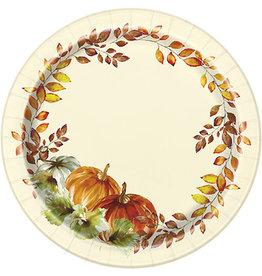 "unique Watercolor Fall Pumpkins 7"" Plate - 8ct."