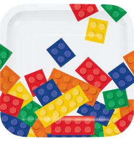 """creative converting Block Party 7"""" Square Plates - 8ct."""