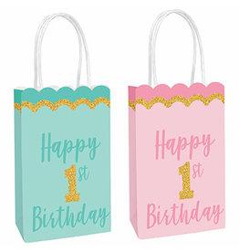 Amscan 1st Birthday Glitter Kraft Bags - 8ct.