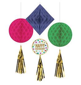 Amscan Happy Dots Honeycomb Decorations - 3ct.