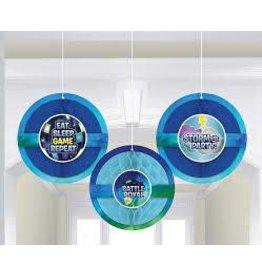 Amscan Battle Royal Honeycomb Decorations - 3ct.