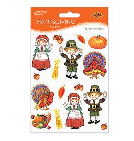 Beistle Thanksgiving Pilgrim & Turkey Stickers