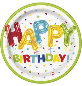 """unique Happy Balloon Birthday 7"""" Plates - 8ct."""