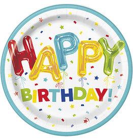"""unique Happy Balloon Birthday 9"""" Plates - 8ct."""