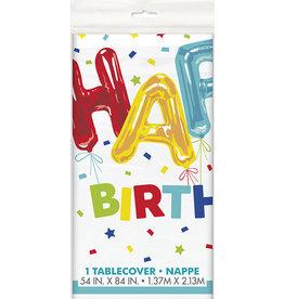 "unique Happy Balloon Birthday Tablecover - 54"" x 84"""