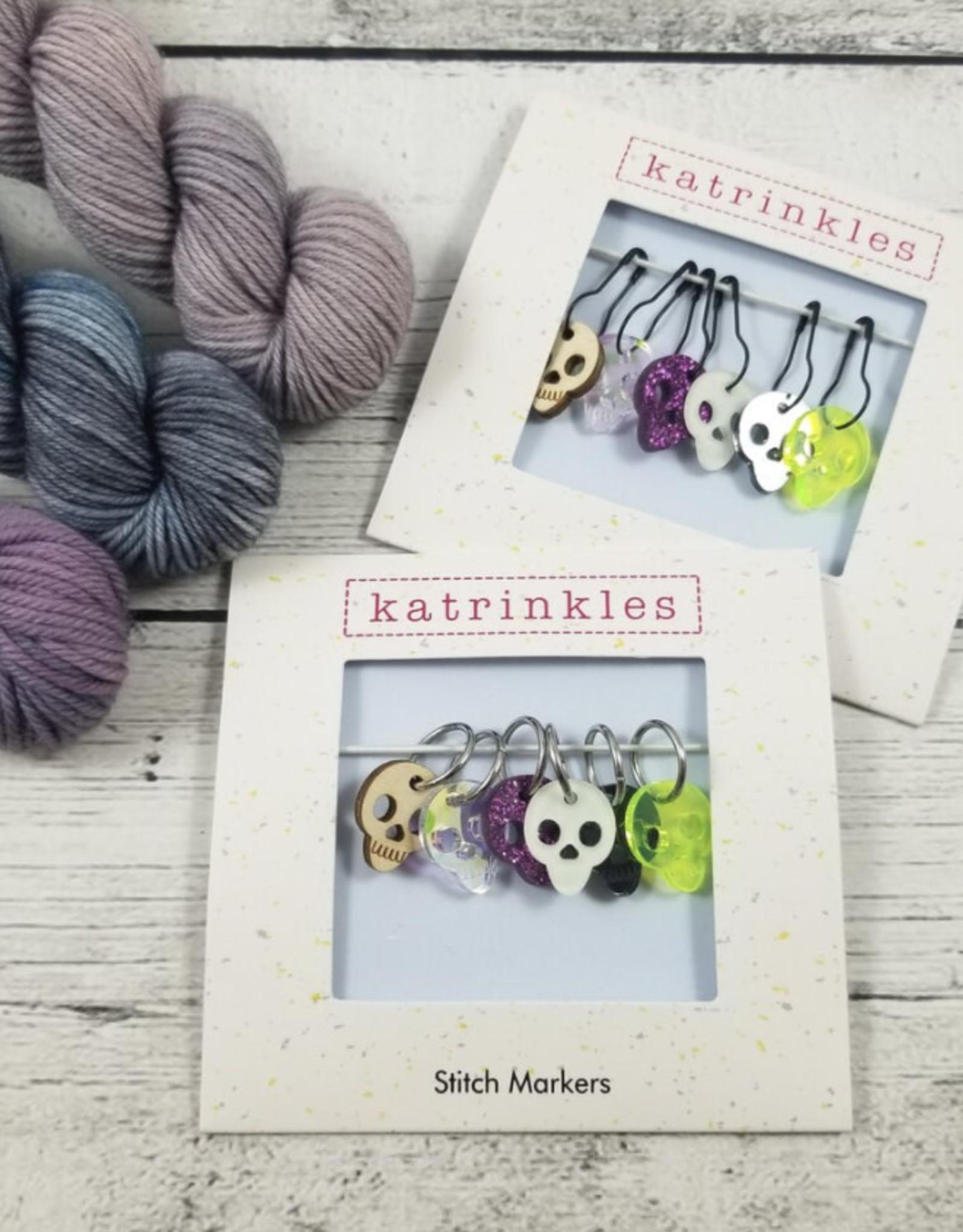 Katrinkles Stitch Marker Set halloween skulls