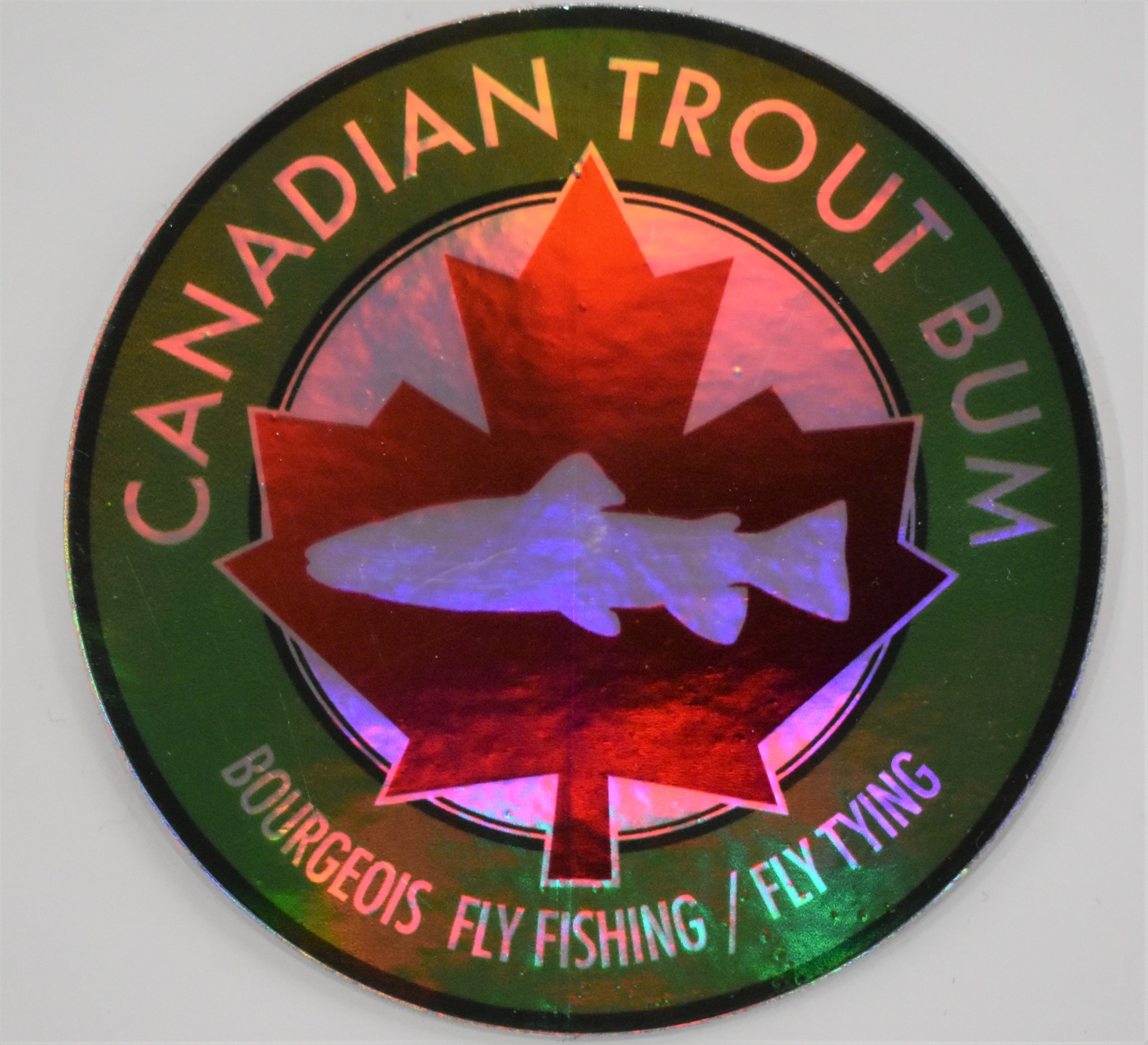 CANADIAN TROUT BUM / AMERICAN TROUT BUM Canadian Trout Bum B Fly Fishing/Tying Circle Decal