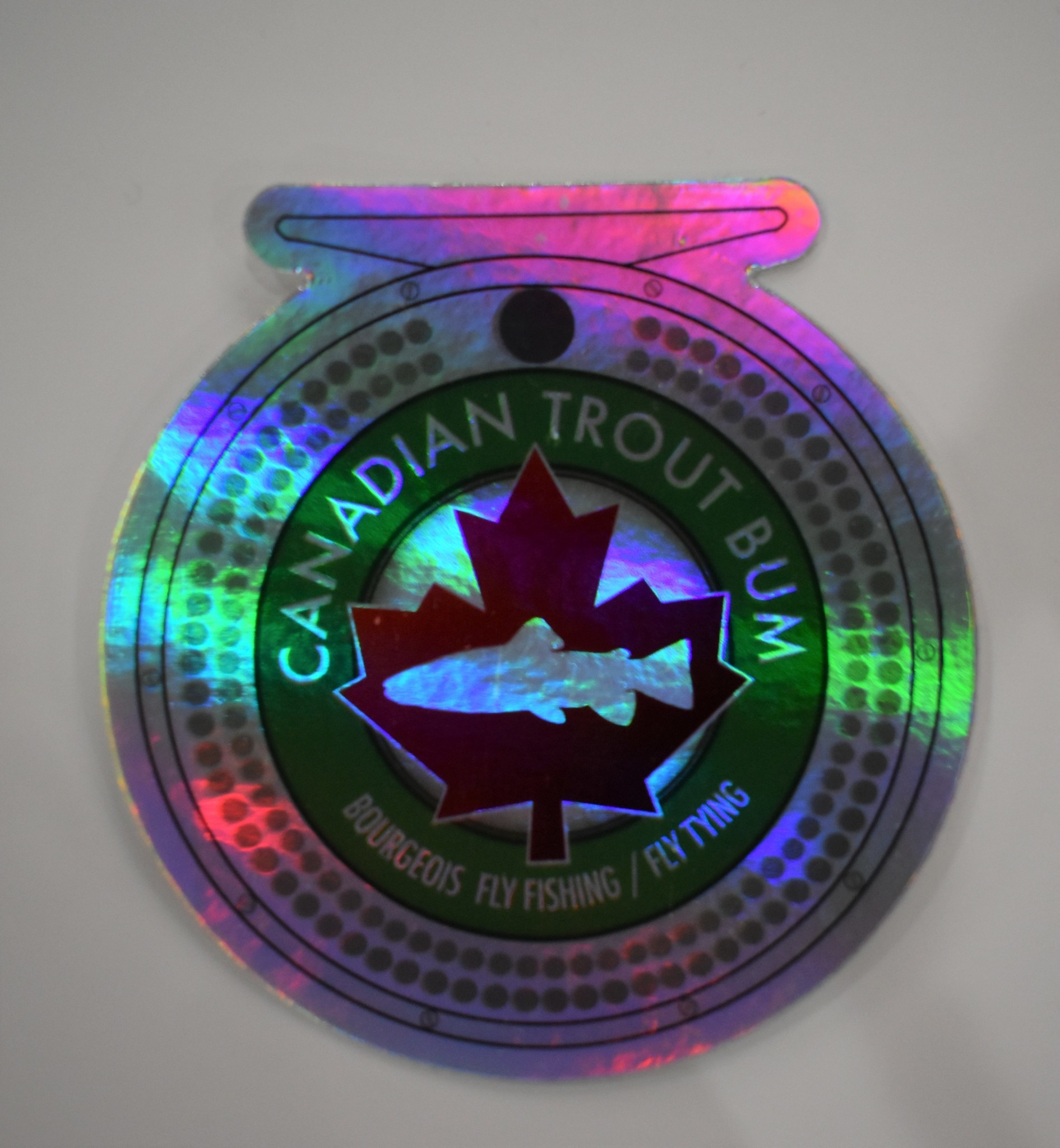CANADIAN TROUT BUM / AMERICAN TROUT BUM Canadian Trout Bum B Fly Fishing/Tying Reel Decal