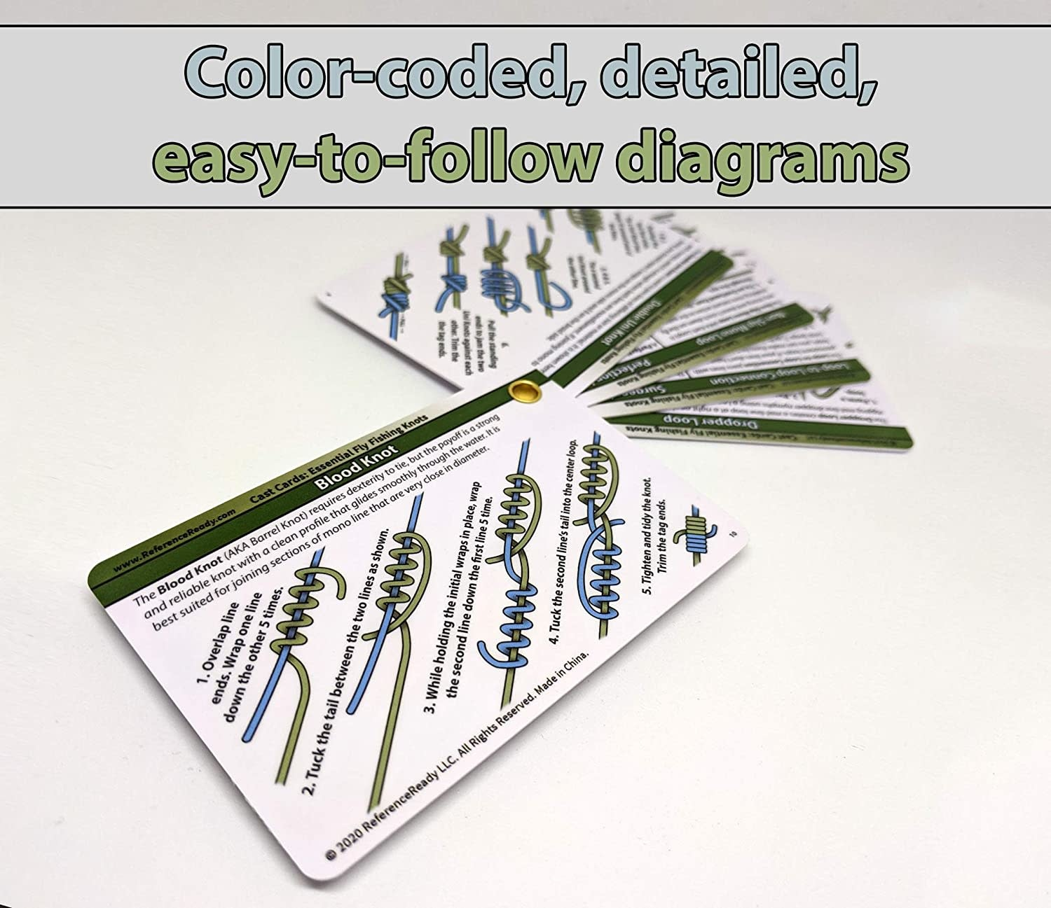 REFERENCE READY Cast Cards - Essential Fly Fishing Knots w/ mini carabiner