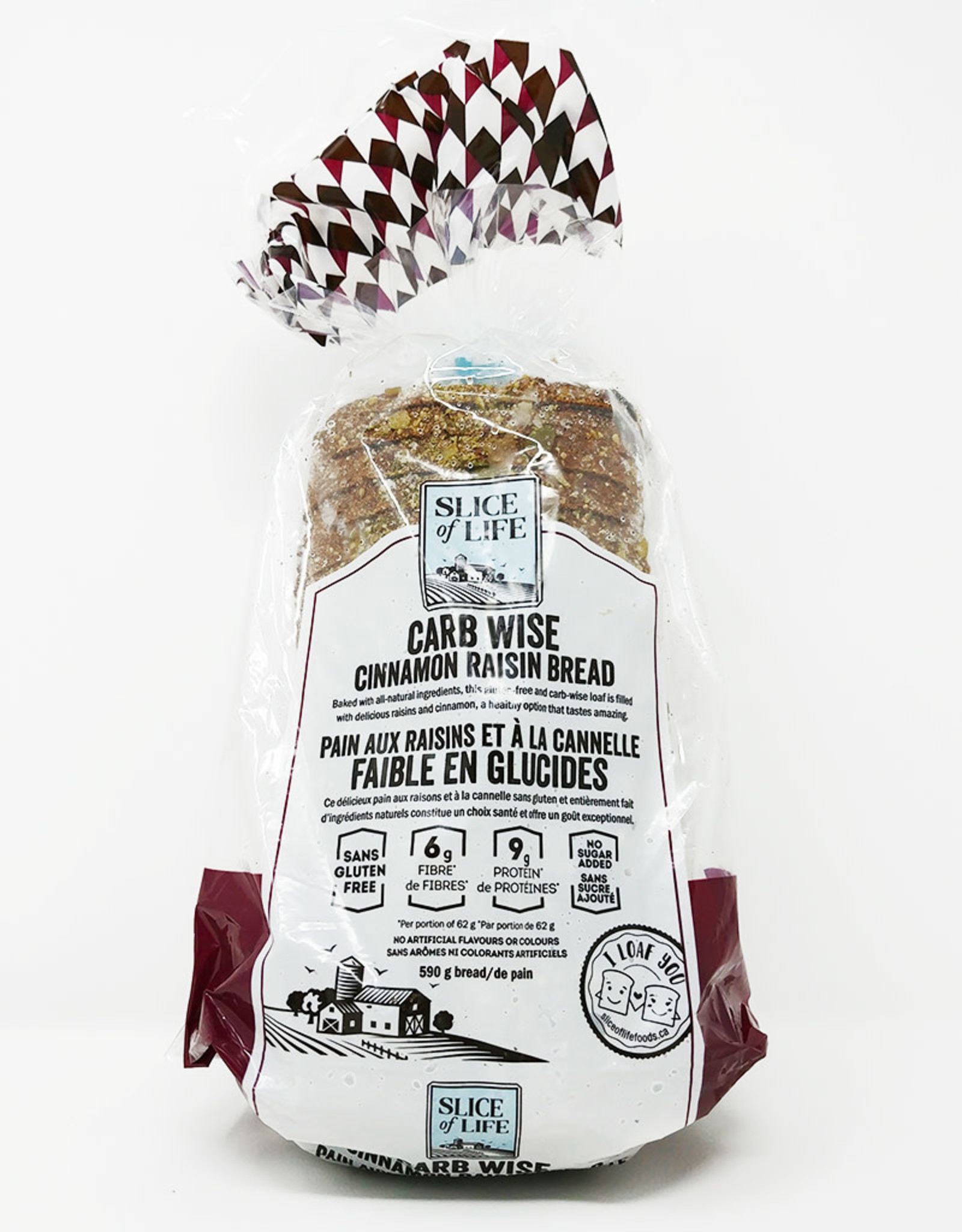 Slice of Life Slice of Life - Carb Wise Bread, Cinnamon Raisin (590g)