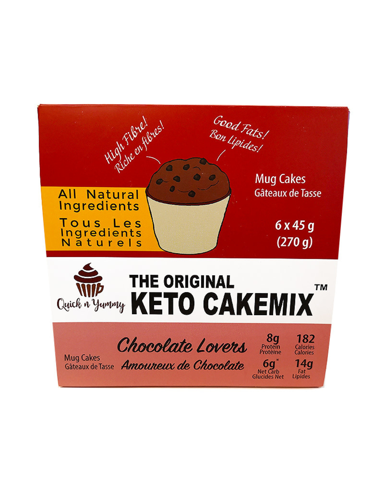 Quick n Yummy Quick n Yummy - Keto Cakemix, Choc Lovers (6x45g)