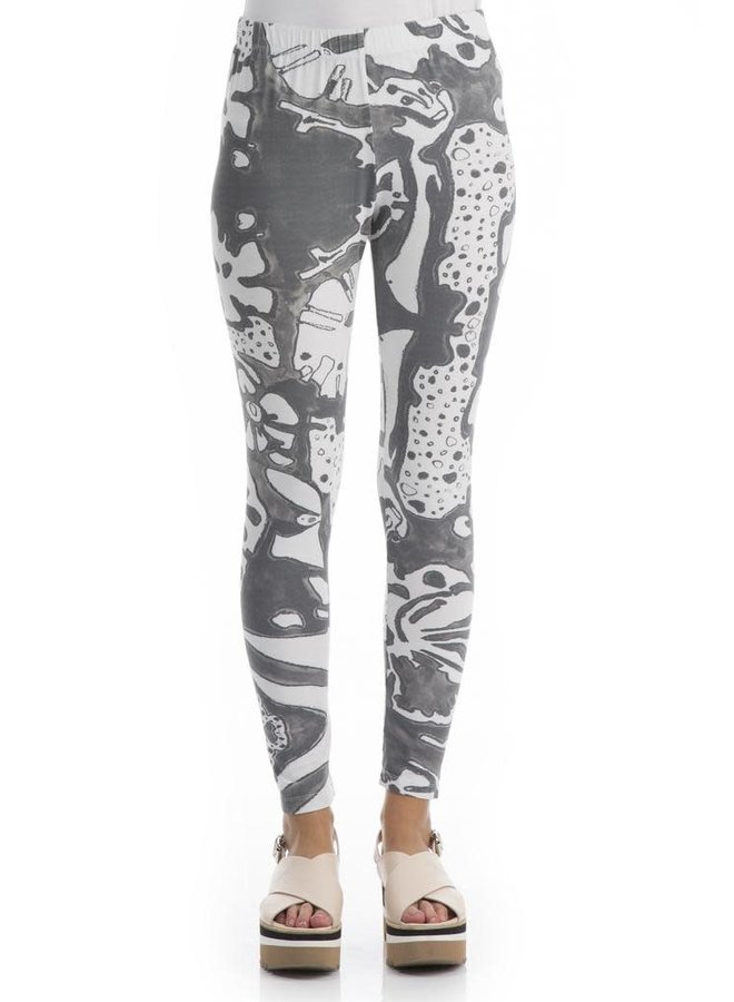 Griza's Cotton Leggings In Psychedelic Print