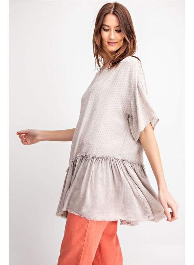 Challie Mineral Wash Tunic In Mushroom