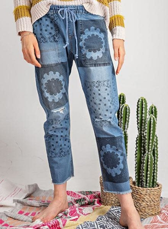 Boho Printed Boyfriend Denim Pant