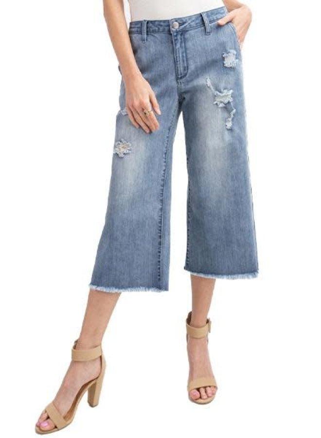Denim Cropped Flare Jeans In Light Denim