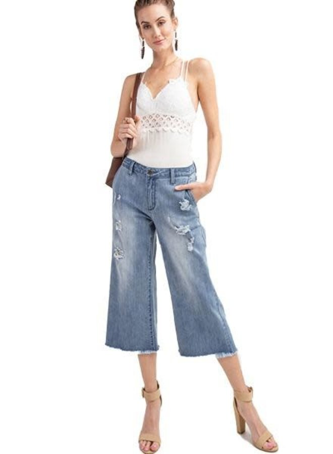 Denim Cropped Flare Jeans In Light Denim