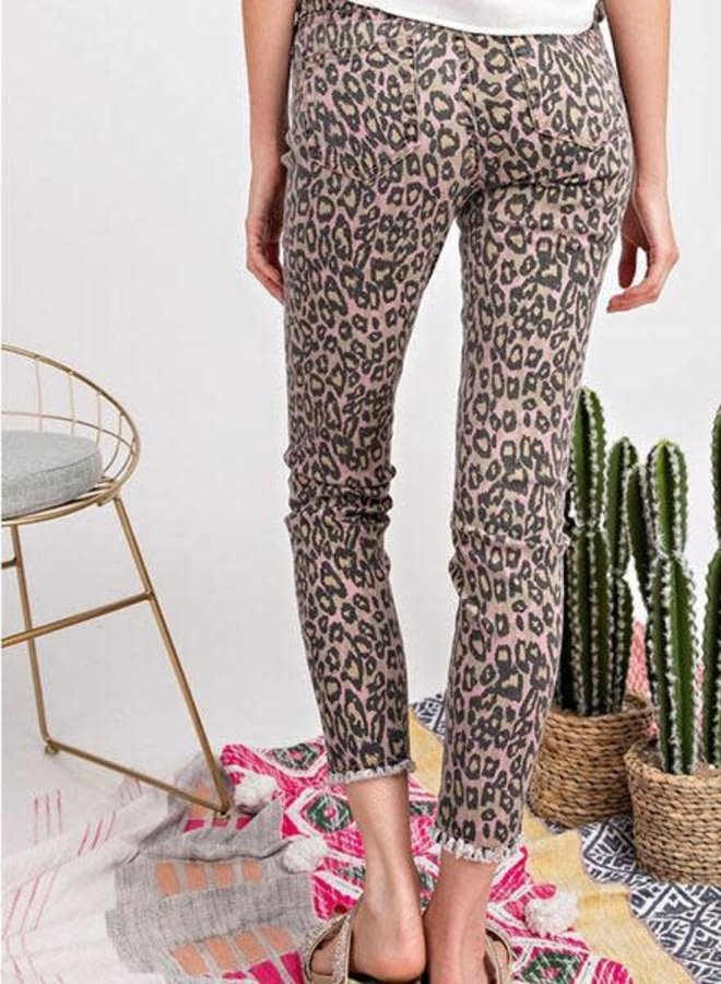 Leopard Fringed Jeans In Pink