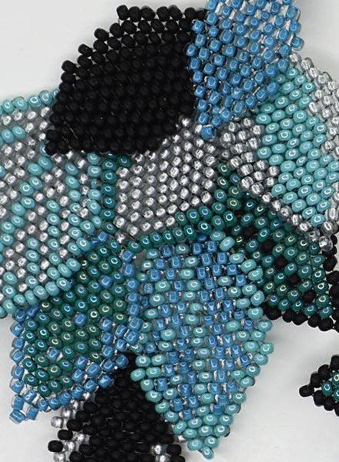 KVZ Handbeaded Leaf Earrings In Black & Aqua