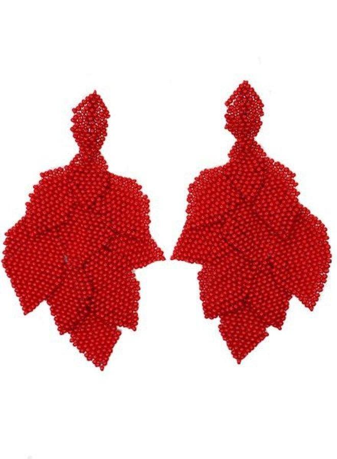 KVZ Handbeaded Leaf Earrings In Tomato