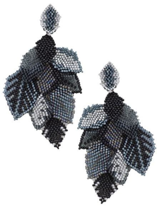 KVZ Handbeaded Leaf Earrings In Black Mix