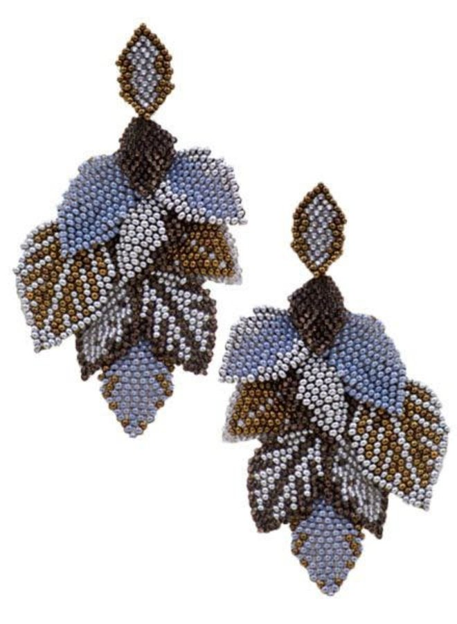 KVZ Handbeaded Leaf Earrings In Silver & Copper
