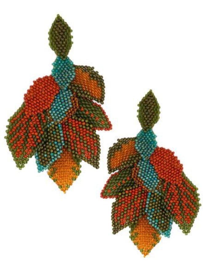 KVZ Handbeaded Leaf Earrings In Terra