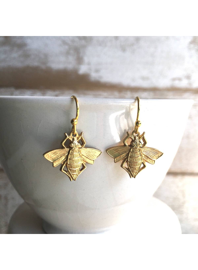 Gold Bee Bug Earrings