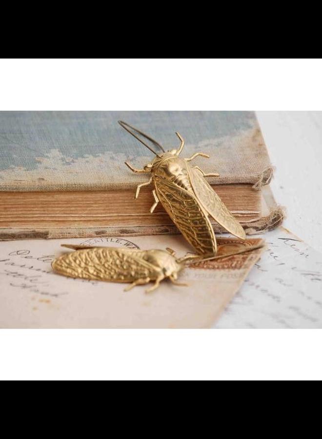 Gold Drop Cicada Earrings