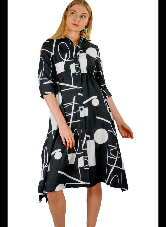 Terra Side Tie 60's Dress In Black & White