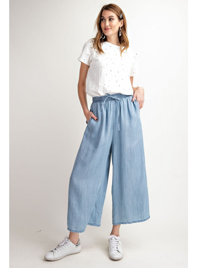 Washed Wide Leg Tencel Pant