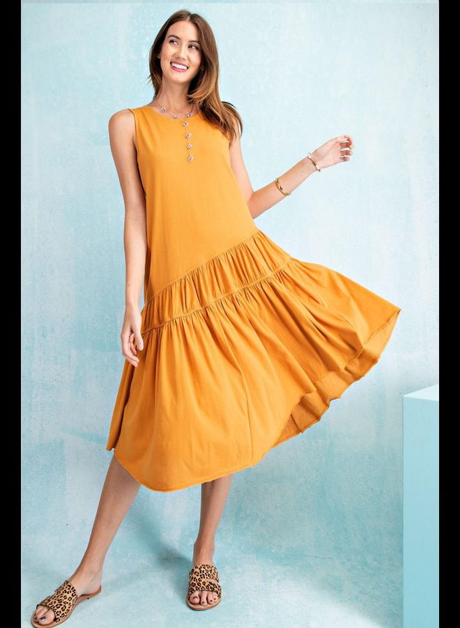 Summer Shopping Dress In Mustard