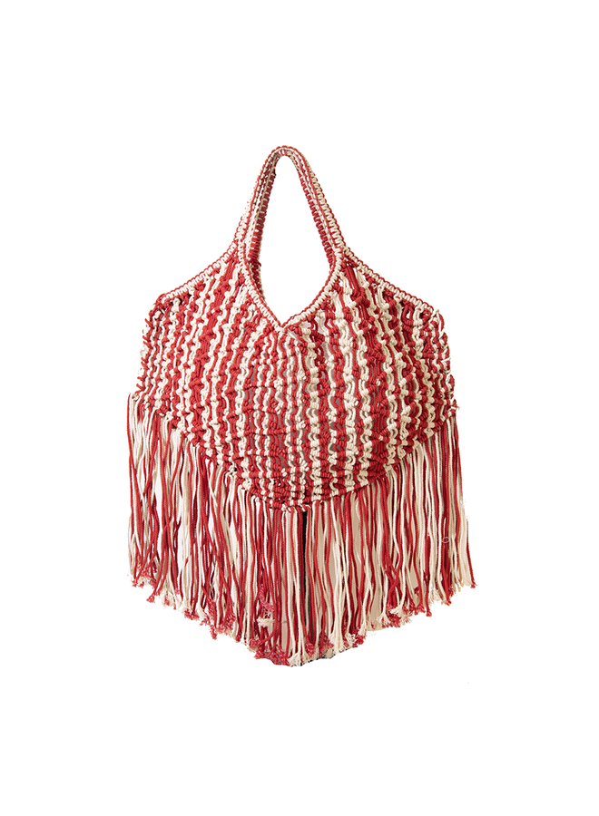 Area Stars Macrame Tote In Red & Natural