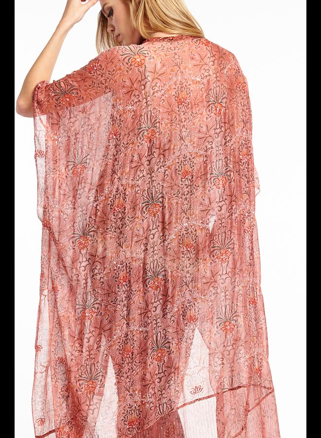 Aratta's Only For Daisy Hand Beaded Kimono In Vintage Mauve
