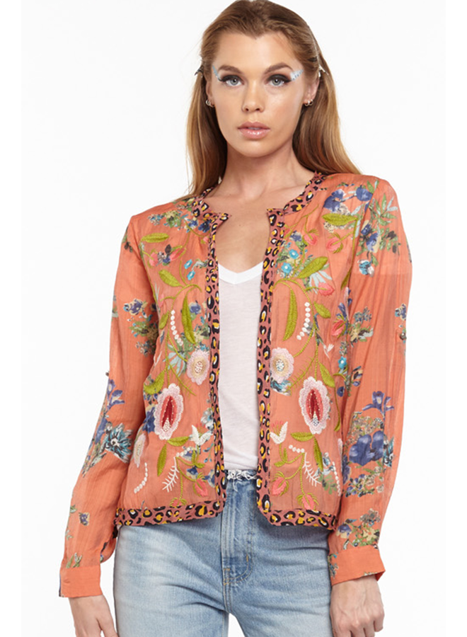 Aratta Safiya Cropped Jacket In Coral