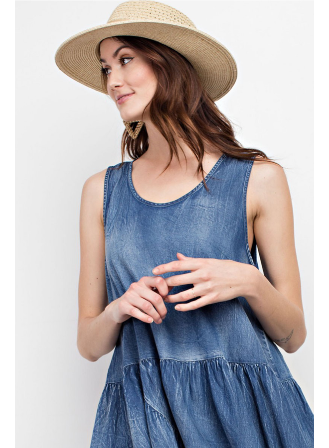 Distressed Baby Doll Denim Dress
