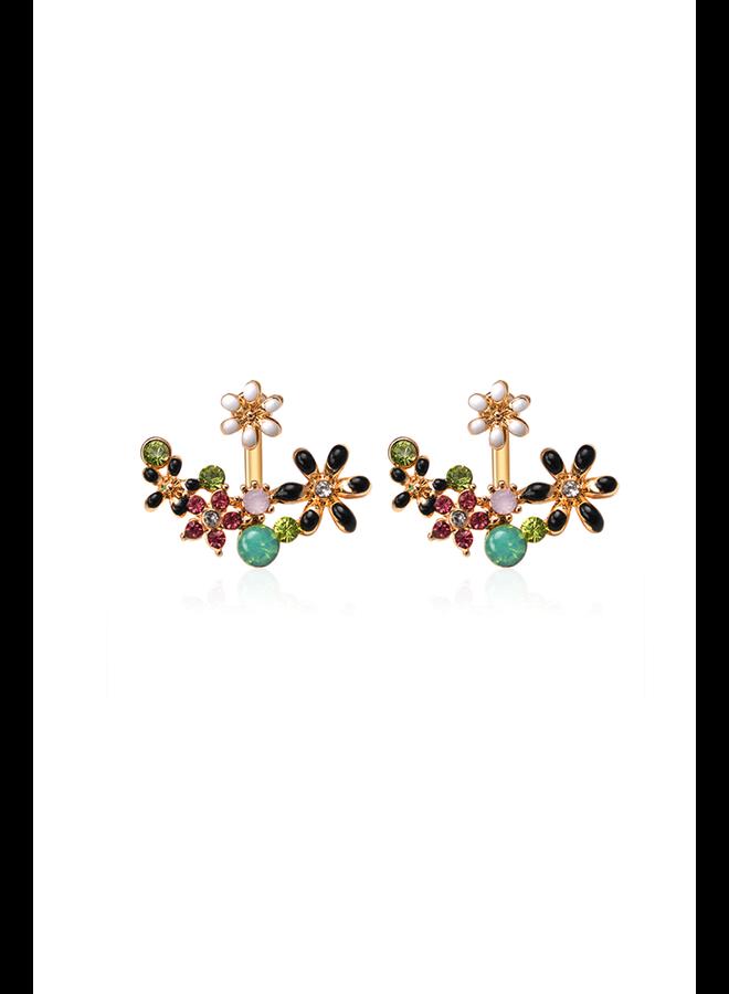 Rhinestone Flower Peek Earrings