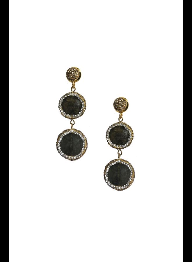 Stone Double Drop Earrings