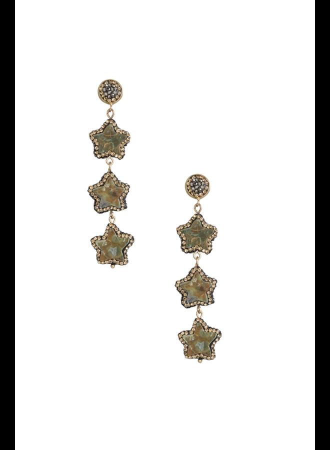 Agate Star Drop Earrings
