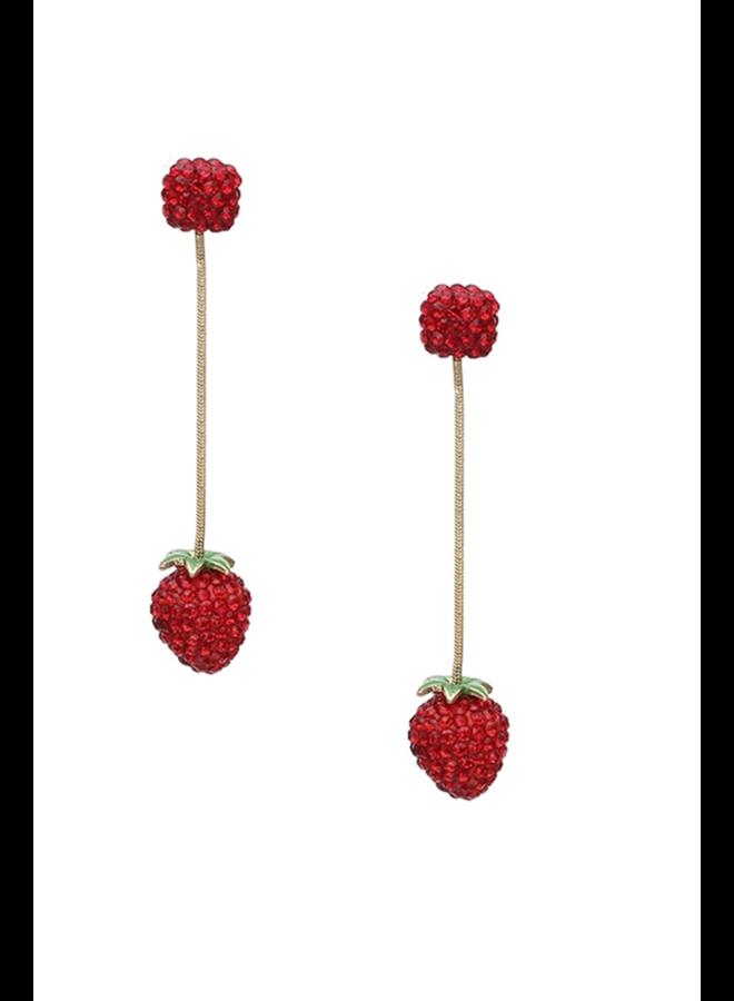 Long Dangly Strawberry Earrings